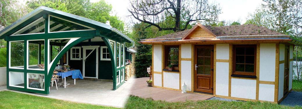 Gartenhaus und Sitzecken